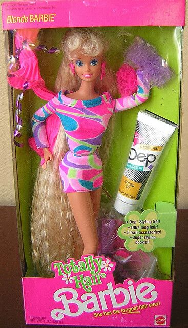 TOTALLY HAIR BARBIE 1991 Had her and Midge in the blue dress.
