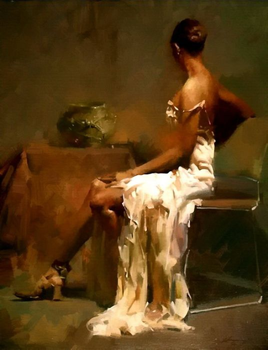 Zhaoming Wu {contemporary figurative art female woman profile painting} Dramatic!!