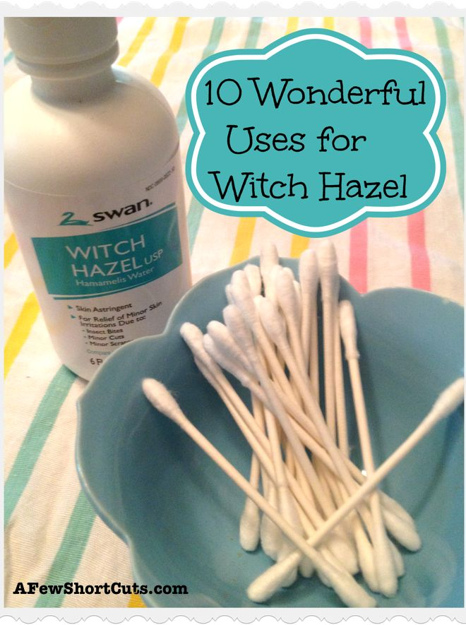10 Wonderful Uses for Witch Hazel-Natural astrigent, Lessen scar appearance, banish under eye bags, lessen varicose veins, heal cuts, treat sun burns, make deodorant, treat sore throat, treat dry dandruff scalp, clean jewelry