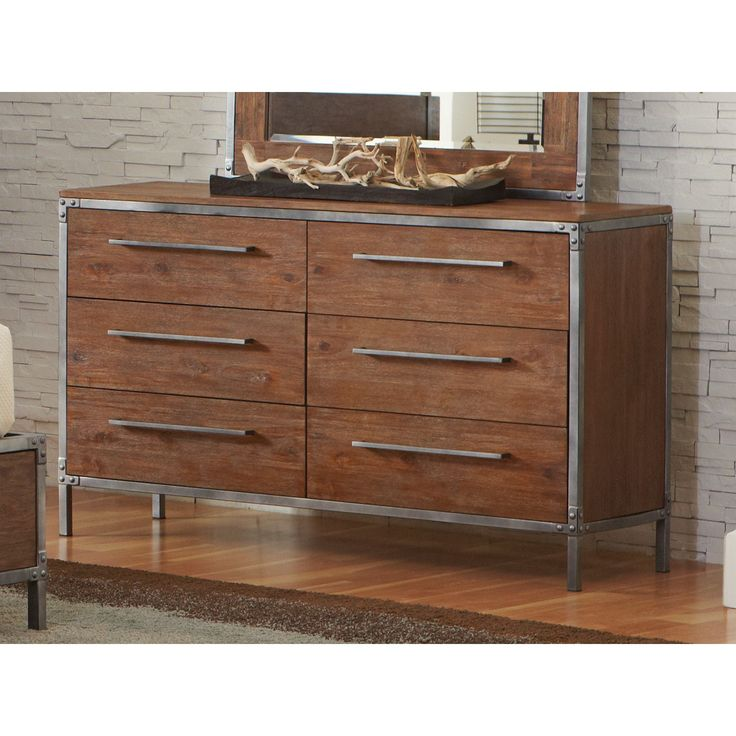 Coaster Company Eclectic Brown and Grey Wood and Metal Dresser (Dresser), Size 6-drawer