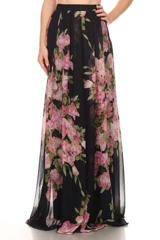 Beautiful Floral Maxi Skirt. Princess Prairie Floral Navy Maxi Skirt by Three Bird Nest