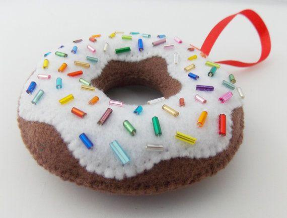 Glazed Chocolate Donut with Rainbow Sprinkles Felt Christmas Ornament by DanielleLondon