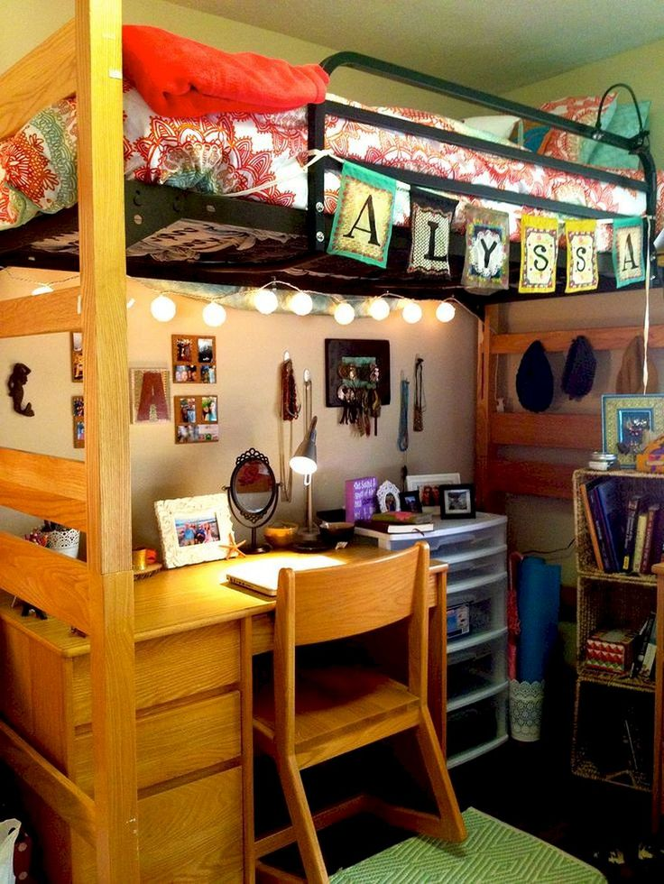 Awesome 100+ Cute Loft Beds College Dorm Room Design Ideas For Girl https://roomadness.com/2018/01/30/100-cute-loft-beds-college-dorm-room-design-ideas-girl/