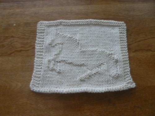 Knit Dishcloth Pattern Horse : Hand Knit Ivory Bucking Bronco Picture Dishcloth or Washcloth hollyknitterc...