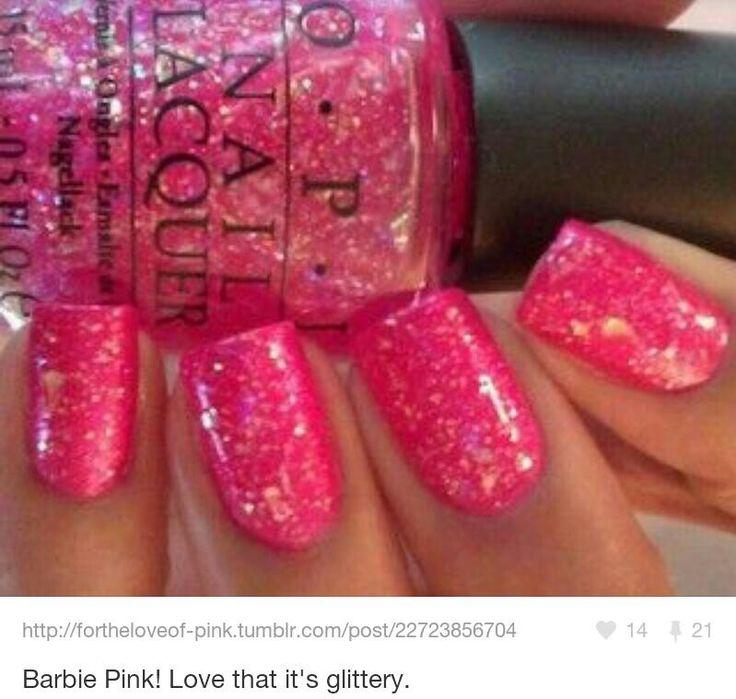 Pink And Blue Glitter Nail Polish: OPI Barbie Pink Glitter