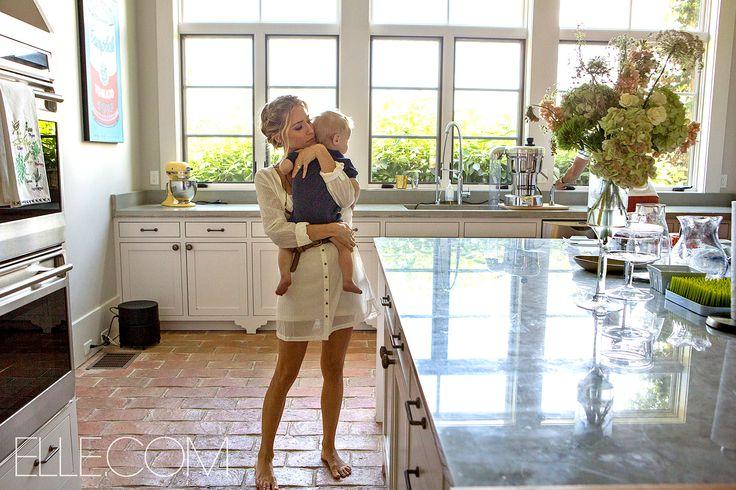 Kristin Cavallari holds her son, Jaxon, inside her home for Elle.com
