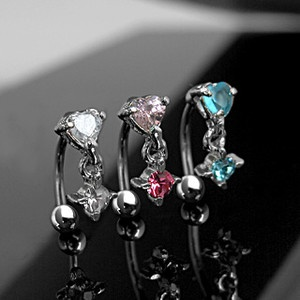 Eyebrow Piercing Jewelry | Eyebrow Ring Curved Reverse Top Down Heart Round CZ Piercing Body ...