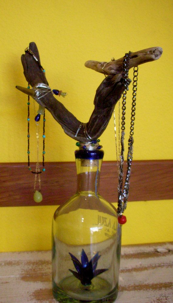 Jewelry Tree Stand Tequila Bottle and Drift by OutStandingStands, $75.00