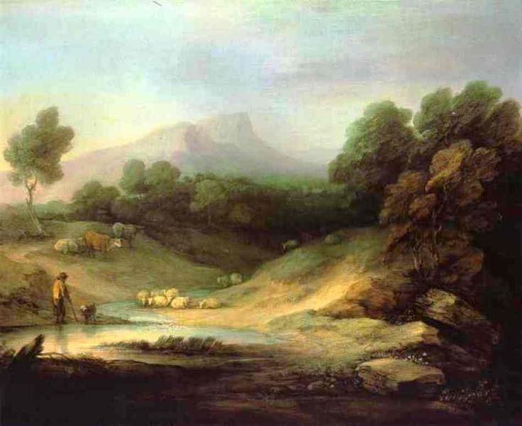 Mountain Landscape with Shepherd - Thomas Gainsborough