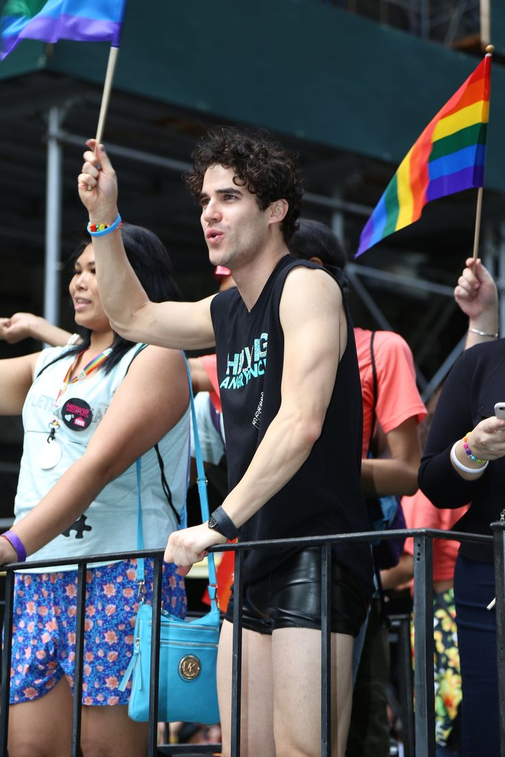 Darren Criss with Rebecca Naomi Jones at the NYC Pride Parade on June 28, 2015.