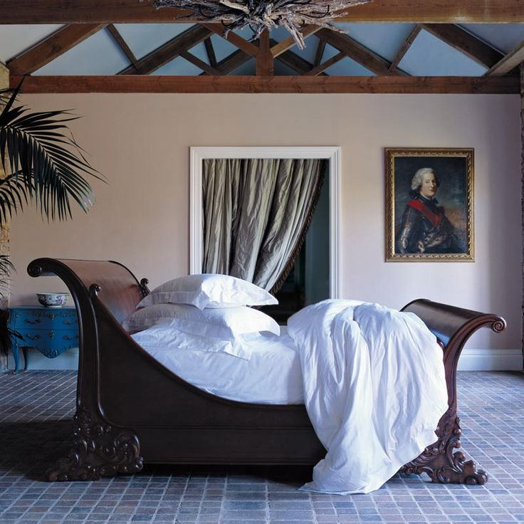 And So To Bed Brodsworth Hand Carved Wooden Sleigh Bed, Natural Finish for the Master Bedroom