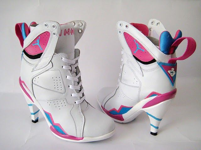 Nike Air Jordan 7 High Heels shoes Pink White Blue,Air Jordan High Heels,  authentic Air Jordan Shoes at low lowest price