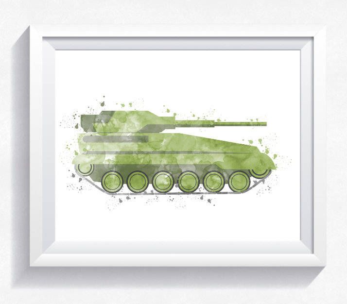 Watercolor TANK print, military tank printable, army tank wall art, military vehicle print, army vehicle printable, boy room wall art by HappyLittleFrog on Etsy