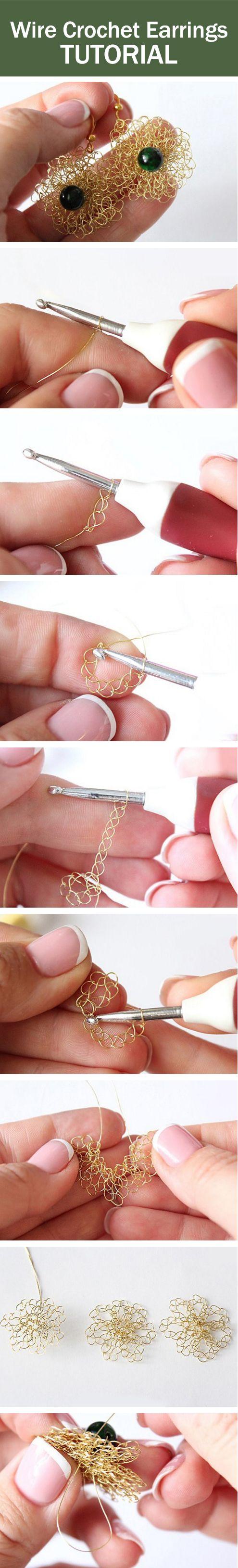 Wire crochet earrings tutorial