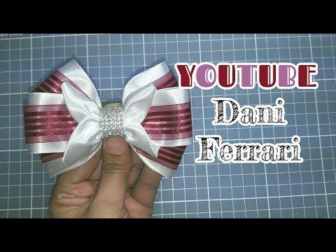 LAÇO FOFINHO DE FITA DE CETIM COM ORGANZA - TUTORIAL PASSO A PASSO - RIBBON BOW HAIR - Dani Ferrari. - YouTube