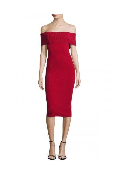 Milano Off Shoulder Bandage Dress (Crimson)