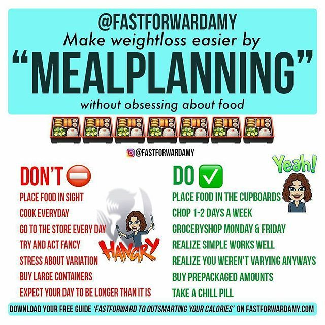 "@Regrann from @fastforwardamy - 🍎7 Tips for Effective ""MEALPLANNING"" when you're on a diet or looking for fatloss.🍏 These diettips have proven to be 🔑 to success for my onlinecoaching clients when focusing on fatloss. Hope they'll help you out, too!🎊 . 1️⃣Keep food out of SIGHT for fatloss: place food in the cupboards. Weightloss is hard enough without having to stare at food all day long - it's an unconscious trigger to eat more. . 2️⃣CHOP and store veggies 🍅🥒 1-2 times a week instead…"