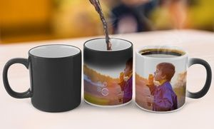 """Personalized photo mugs outfitted with cherished photos; thermochromic """"magic"""" mugs that change colors when they heat up"""