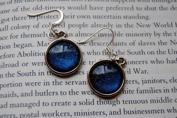 Indigo Blue Holographic Nail Polish Earrings by Lacquerella, $10.00