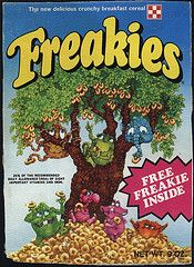 They Always Come Back: Food  Freakies was a brand of sweetened breakfast cereal produced by Ralston and sold in the United States. The cereal entered the marketplace in 1973 and was taken off the shelves in 1975, They were made up of seven creatures named Hamhose, Gargle, Cowmumble, Grumble, Goody-Goody, Snorkeldorf and the leader BossMoss