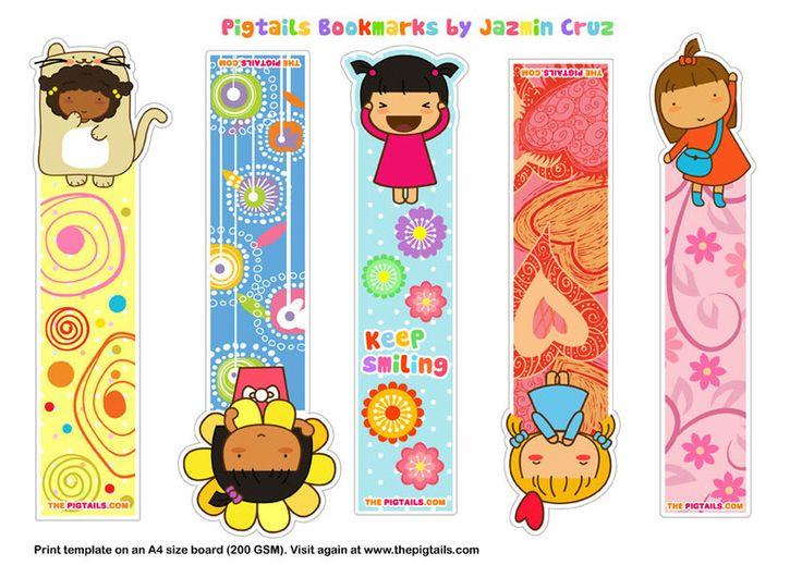 Free printable kawaii girl bookmarks | The Pigtails