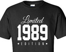 1989 Limited Edition 27th Birthday Party Shirt Turning 27 T-Shirt Tee Shirt T Shirt Mens Ladies Womens Funny Modern Tee TH-002