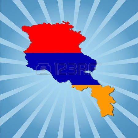 burst: Armenia map flag on blue sunburst illustration
