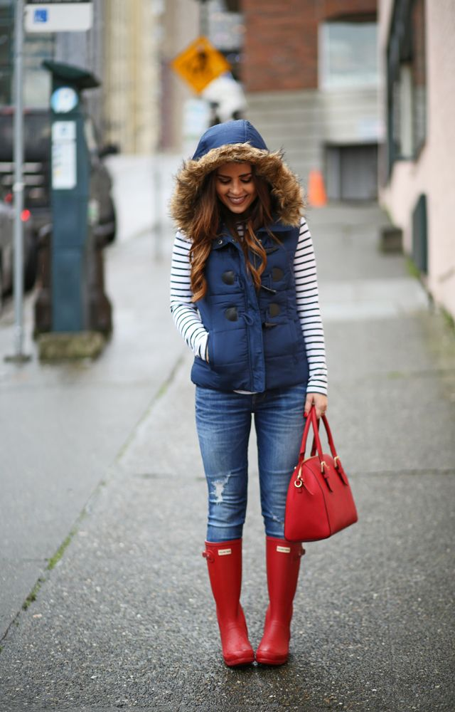 I already have these red rainboots and a navy vest like this...