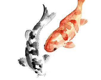 Fishes art, Koi fish watercolor painting, Koi Fishes art print, Tangerine home decor