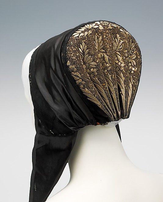 Bonnet, silk, metal and paper, late 19th century, Danish.