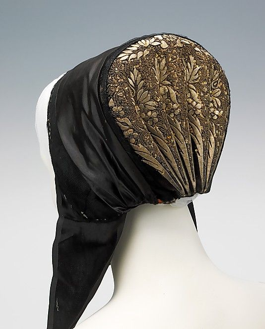 Danish Bonnet, late 1800s. This bonnet is typical for the island of Sjælland. The gold-work embroidery was densely worked in a variety of unique patterns and was so costly, it took years for some to save enough to get one and they were often passed down through the generations.