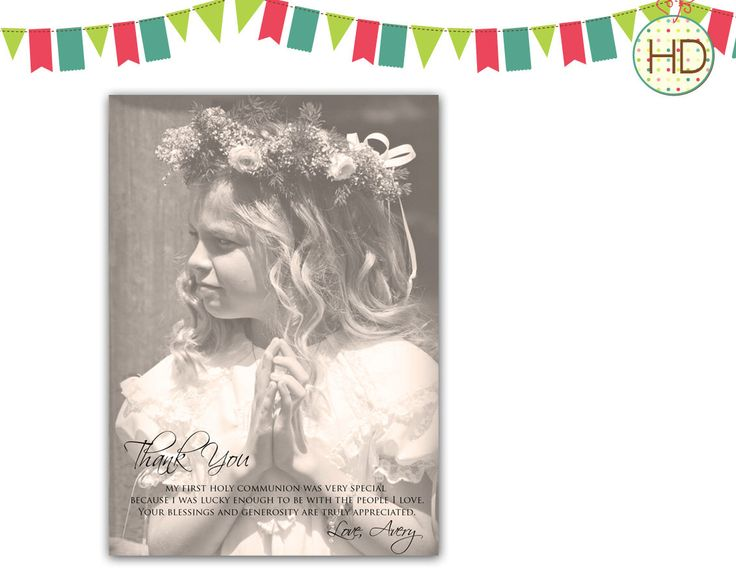 A personal favorite from my Etsy shop https://www.etsy.com/listing/124202480/photo-communion-thank-you-card-vintage