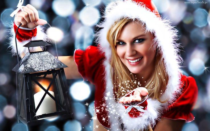 Boże Narodzenie, Kobieta, Śnieżynka, Lampion, Blask