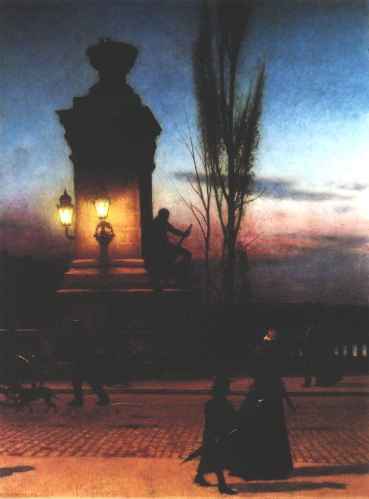 Bridge in Munich, Aleksander Gierymski, 1890, oil paint