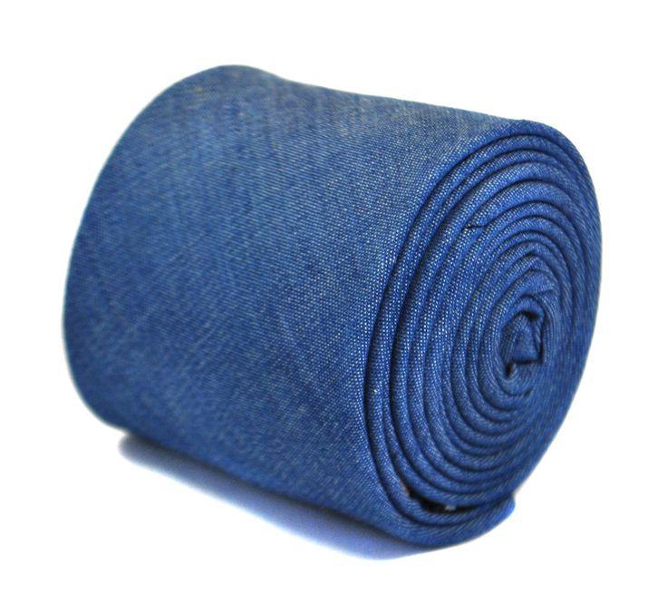 Frederick Thomas blue denim 100% cotton linen mens tie FT2168 RRP £19.99