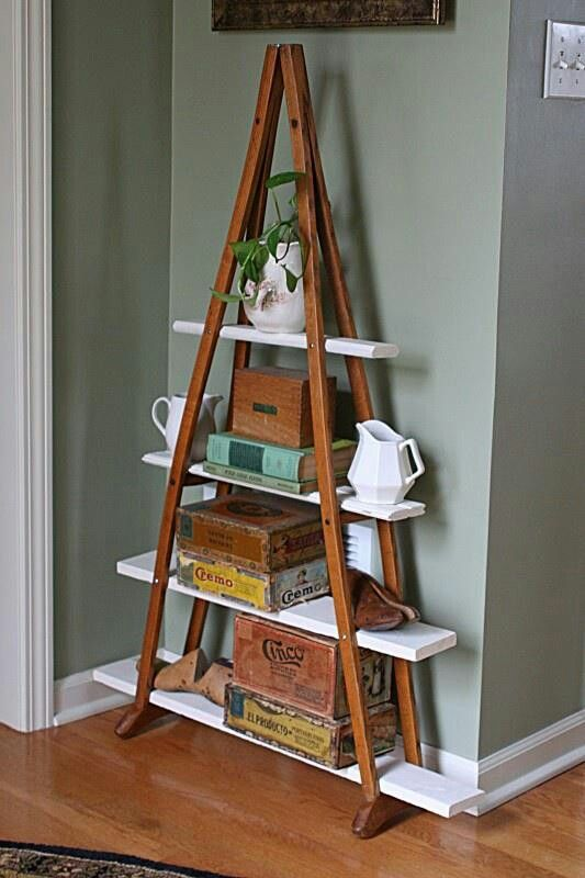 Turn your old crutches into a shelf