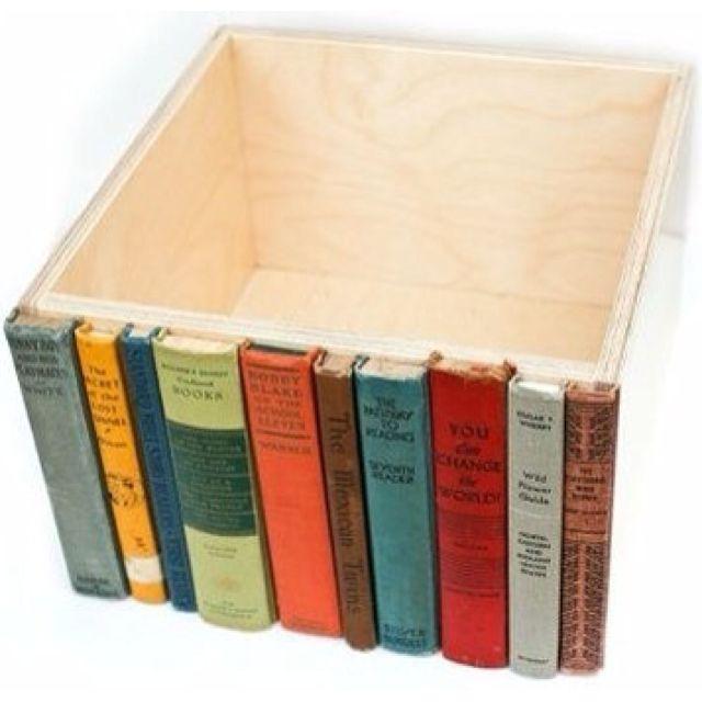 Hidden box on a book shelf. I saw something similar on flea market flip. Sawed off books on wood