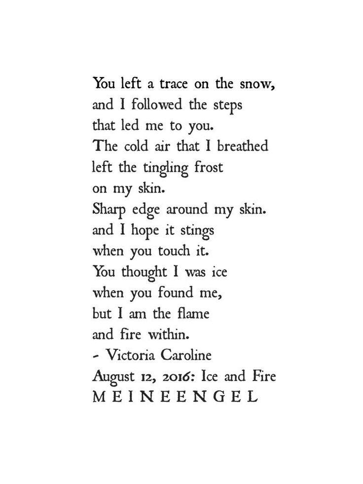 "Ice and Fire. #poets #poem #poetry #victoriacaroline  #writersnetwork #meineengel  https://t.co/73U9SnQmt9 https://t.co/MS10JozWjD"""