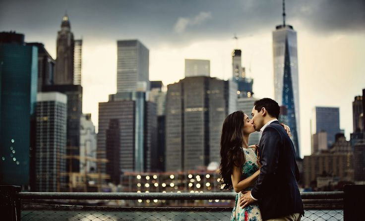 Romantic engagement session in New York City. Captured by Dmitri Markine. Click on the image to see an online gallery of inspiring wedding and engagement photos