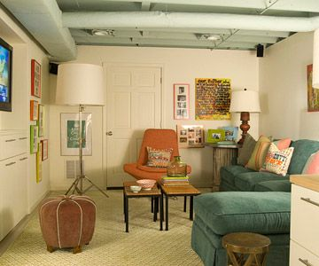 Small basement ideas - love the ceiling and floor colors to brighten