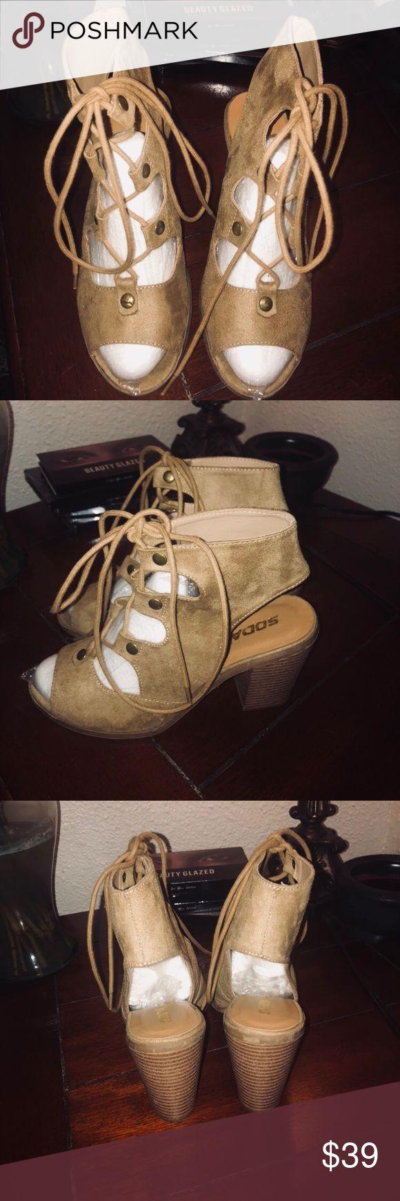 Soda Women's Peep Toe Lace Up Heel Soda Women's Tan Lace Up Ankle Booties , Tan Lace Up Block Heel Ankle Booties - Size 8.5 Open toe & heel.Great Condition Soda Shoes Ankle Boots & Booties