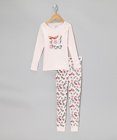 Take a look at this Light Pink Lipstick Pajama Set - Girls by Leveret on #zulily today!