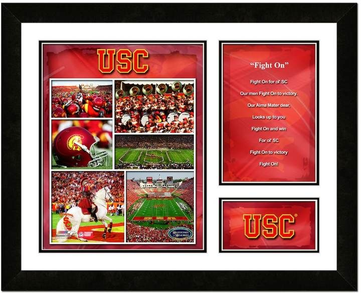 $38.50 - Kohl's USC Trojans Milestones and Memories Fight Song Framed Wall Art - Fight, fight, fight. Show your school spirit with this USC Trojans fight song wall art. Stadium, mascot and fight song graphics make this photo a fan must-have. Shop our selection of Ncaa merchandise at Kohls.com. Custom printed photo showcases your favorite team. Details: 13H x 16W Vertical display Double matted Attached hanging hook Wood/glass Manufacturer's 90-day limited warranty