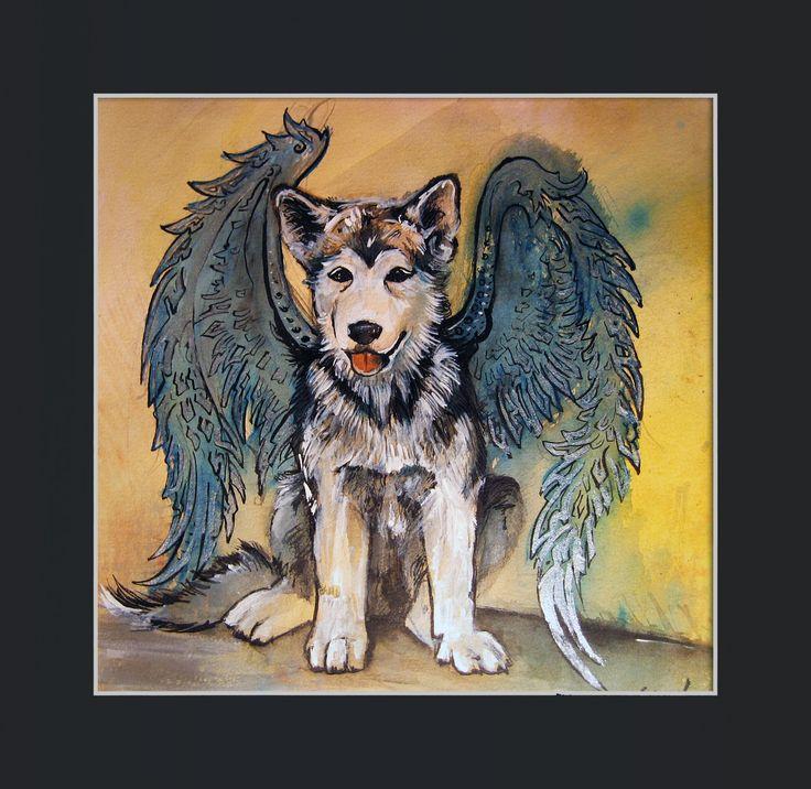 Alaskan malamute angel for charity fundation.