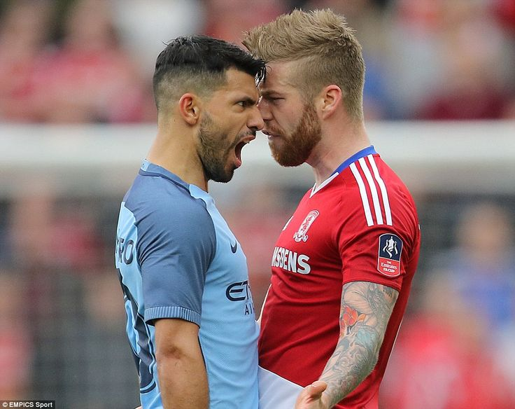 Manchester City star Aguero squares up toMiddlesbrough's Adam Clayton shortly after scoring his side's second goal