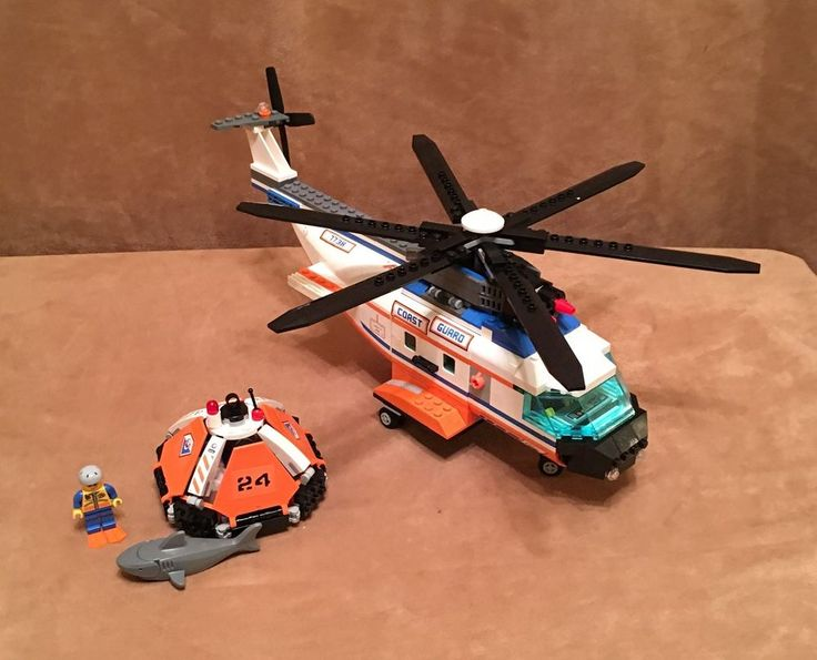 7738 Lego Complete Rescue Chopper Coast Guard city helicopter minifigures boat #LEGO