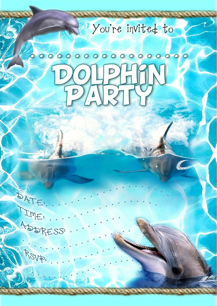 FREE Kids Party Invitations: Dolphin Party Invitation *NEW* from kidspartyinvites.blogspot.com