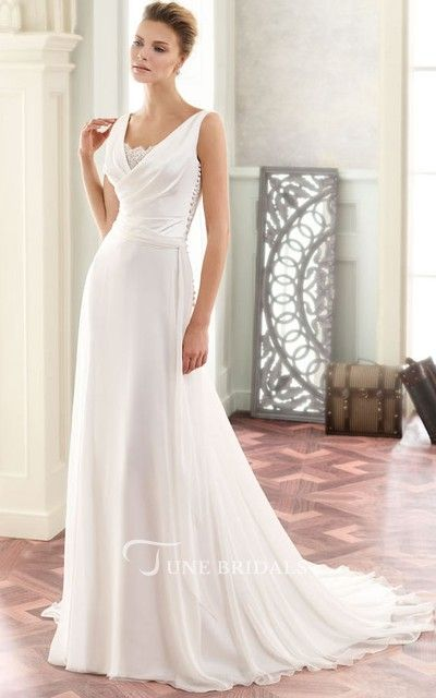d00862554b8 Maxi V-Neck Appliqued Chiffon Wedding Dress With Sweep Train And V Back