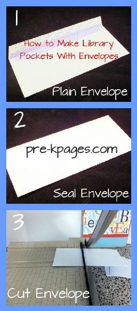 How to make library pockets with envelopes via www.pre-kpages.com #preschool #kindergarten #diy