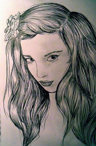 pencil sketch illustration girl